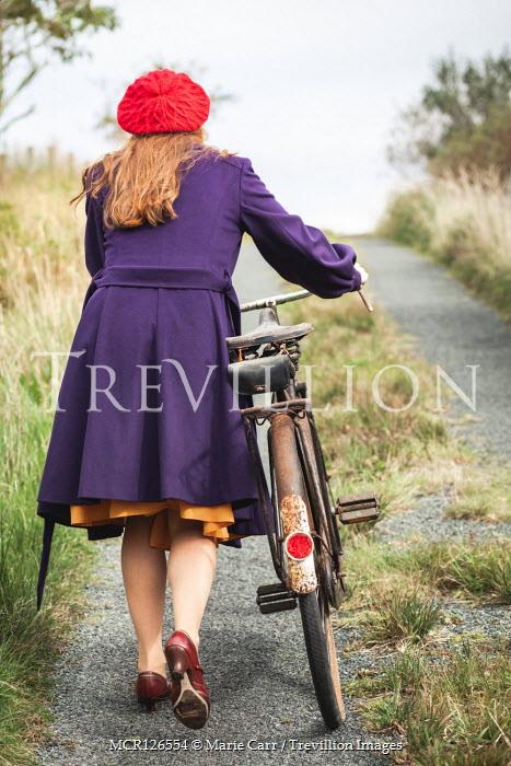 Marie Carr GIRL IN HAT WITH BICYCLE ON COUNTRY ROAD Women
