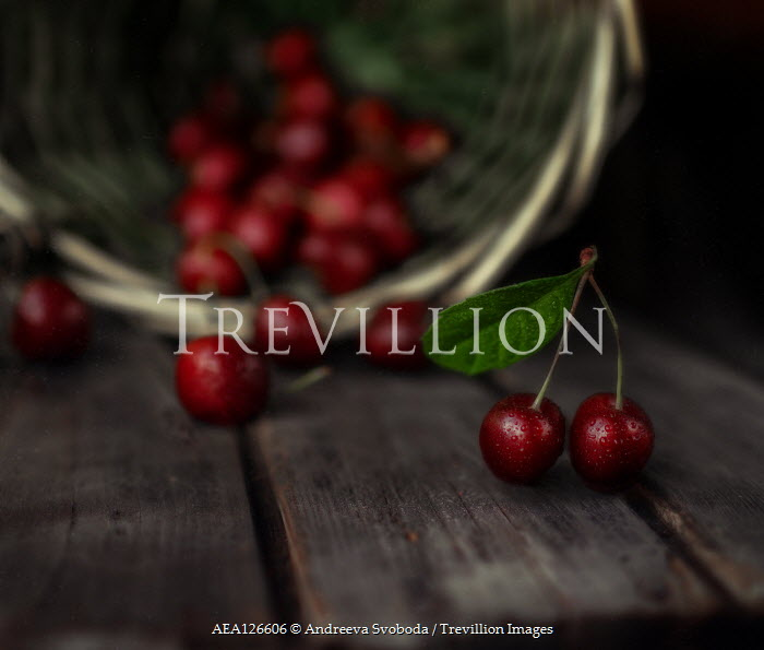 Andreeva Svoboda BASKET OF RED CHERRIES ON TABLE Miscellaneous Objects