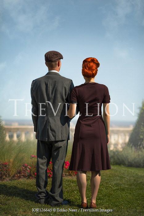 Ildiko Neer Vintage couple standing in garden