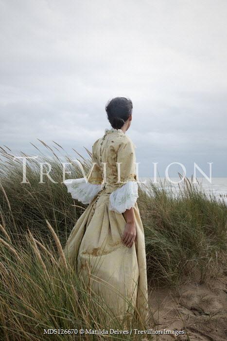 Matilda Delves HISTORICAL WOMAN IN SAND DUNE WATCHING SEA Women