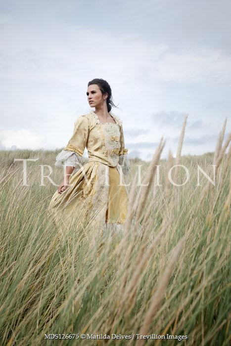 Matilda Delves HISTORICAL BRUNETTE WOMAN STANDING IN LONG GRASS Women
