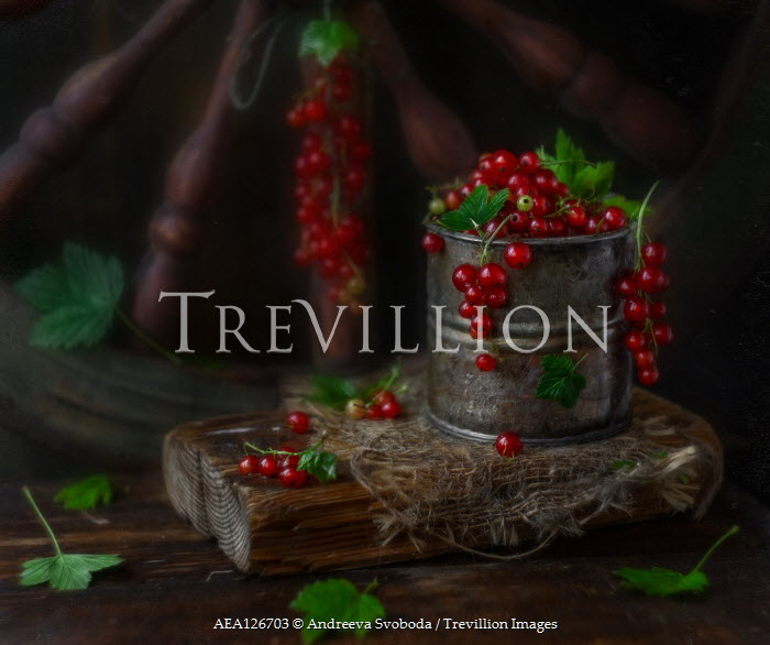 Andreeva Svoboda RED BERRIES IN TIN BY WOODEN WHEEL Miscellaneous Objects