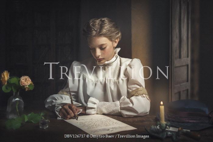 Dmytro Baev YOUNG HISTORICAL GIRL WRITING LETTER INDOORS Children