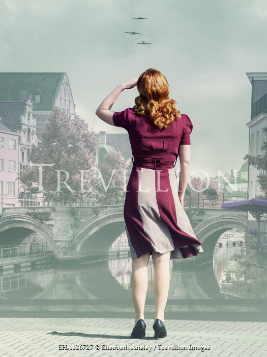 Elisabeth Ansley WOMAN BY RIVER IN CITY WATCHING WAR PLANES Women
