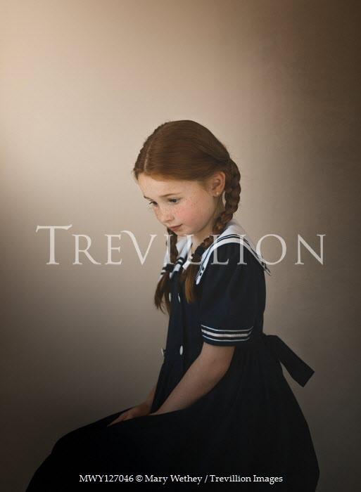 Mary Wethey Girl with pigtails in blue sailor dress