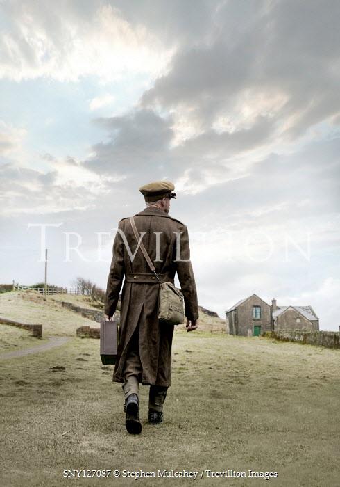 Stephen Mulcahey British soldier walking in field