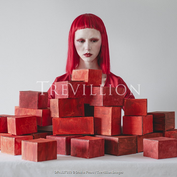 Dasha Pears WOMAN WITH RED HAIR STARING AT BOXES Women