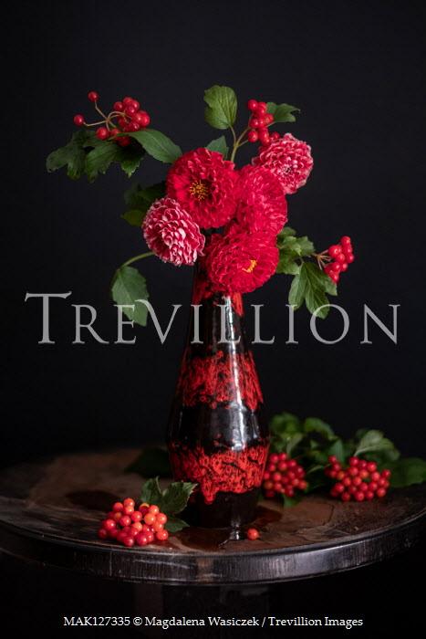 Magdalena Wasiczek RED FLOWERS AND BERRIES IN VASE ON TABLE Flowers