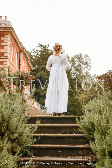 Shelley Richmond BLONDE HISTORICAL WOMAN ON STEPS BY GRAND HOUSE Women