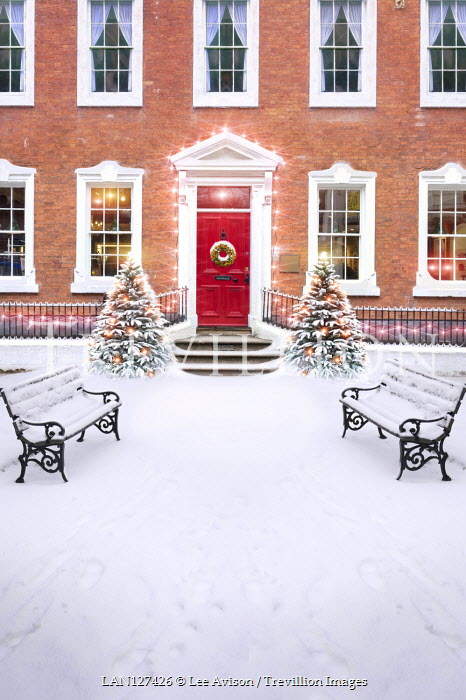 Lee Avison LARGE HOUSE WITH SNOW CHRISTMAS TREES AND BENCHES Houses