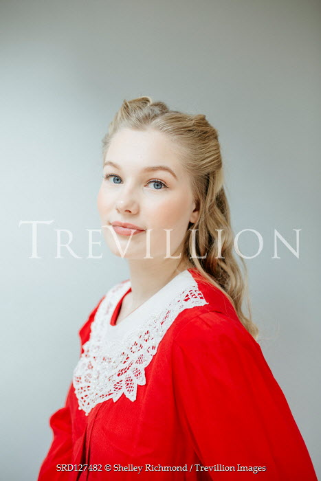 Shelley Richmond BLONDE WOMAN IN RED DRESS WITH LACE COLLAR Women