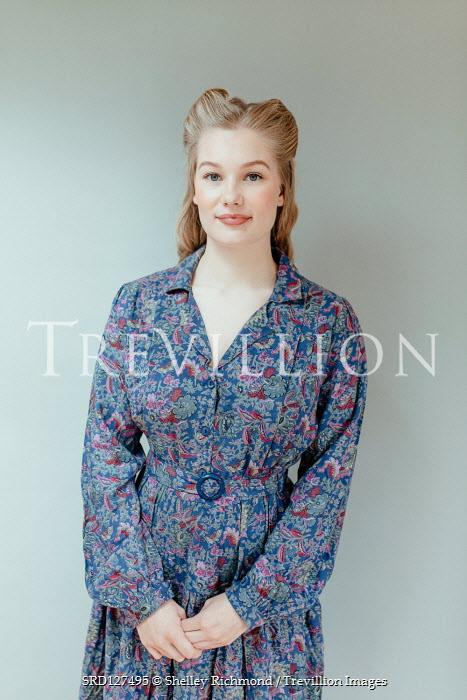 Shelley Richmond BLONDE RETRO WOMAN IN BLUE FLORAL DRESS Women