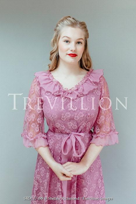 Shelley Richmond BLONDE RETRO WOMAN IN PINK LACY DRESS Women