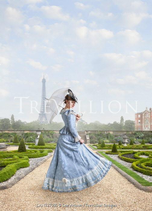 Lee Avison Victorian woman in a garden in paris