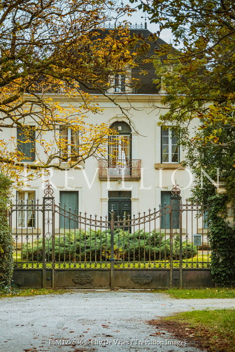 Elly De Vries Mansion with gate and trees