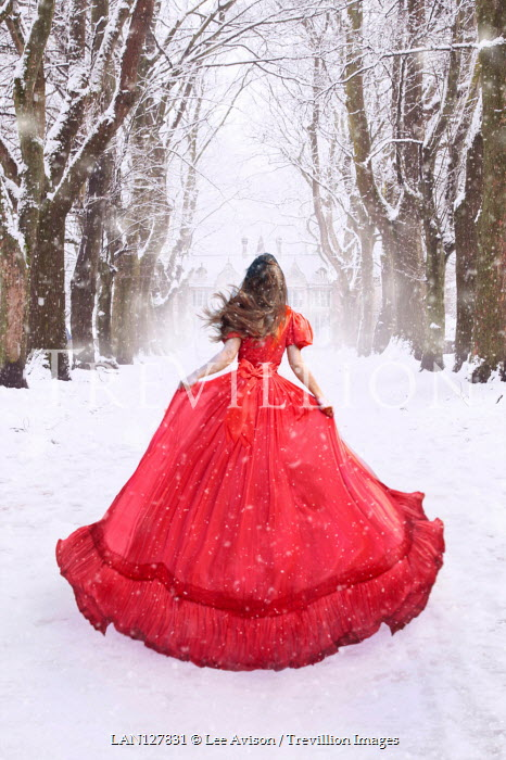 Lee Avison WOMAN WITH RED GOWN WATCHING HOUSE IN SNOW Women