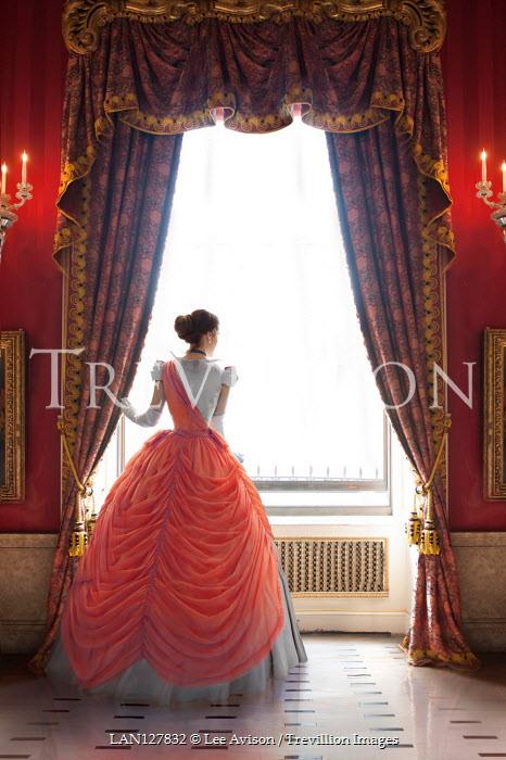 Lee Avison VICTORIAN WOMAN IN BALLGOWN INDOORS BY WINDOW Women