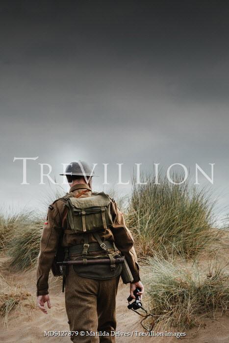 Matilda Delves WWI soldier on sand dunes