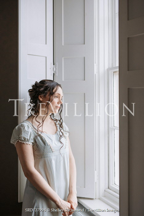 Shelley Richmond BRUNETTE REGENCY WOMAN INDOORS DAYDREAMING AT WINDOW Women