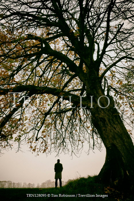 Tim Robinson SILHOUETTED MAN IN HAT WAITING BY TREE Men