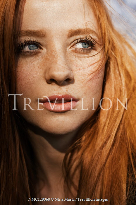 Nina Masic YOUNG GIRL WITH RED HAIR FRECKLES AND BLUE EYES Women