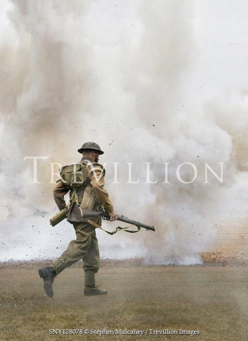 Stephen Mulcahey WW2 SOLDIER RUNNING IN FIELD WITH EXPLOSION Men