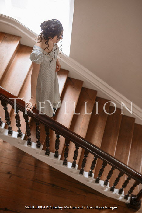 Shelley Richmond REGENCY WOMAN STANDING ON STAIRCASE INDOORS Women