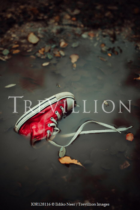 Ildiko Neer RED SNEAKER LYING IN PUDDLE Miscellaneous Objects