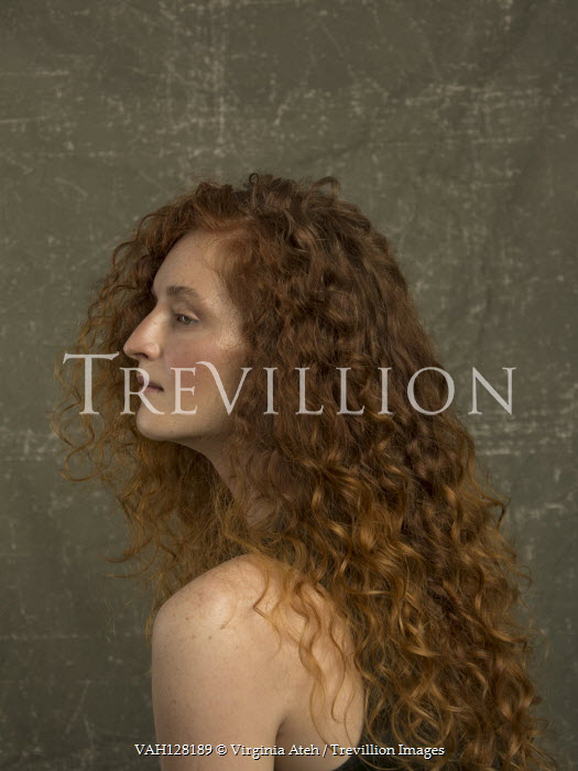 Virginia Ateh WOMAN WITH LONG CURLY RED HAIR IN PROFILE Women