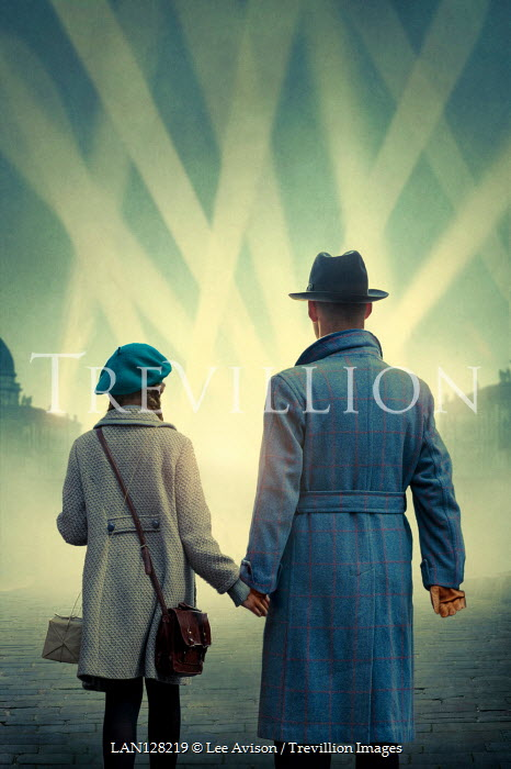 Lee Avison FATHER AND DAUGHTER HOLDING HANDS WATCHING SEARCHLIGHTS Children