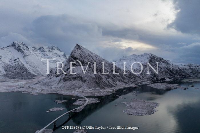 Ollie Taylor Volandstind Mountain and bridge Lofoten Islands, Norway