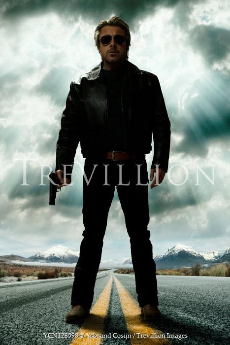 Ysbrand Cosijn MAN STANDING ON COUNTRY ROAD WITH GUN Men