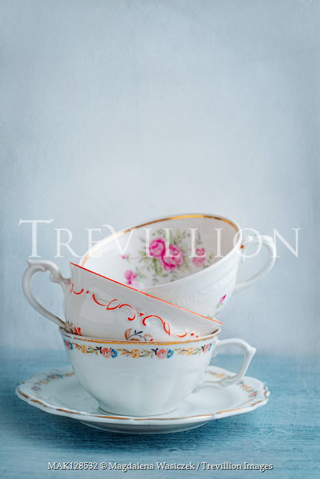 Magdalena Wasiczek STACK OF FLORAL CHINA TEACUPS Miscellaneous Objects