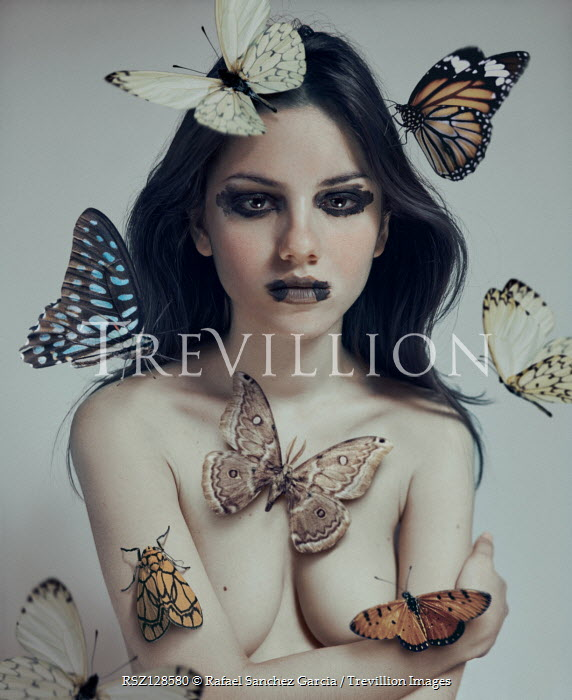 Rafael Sanchez Garcia GIRL WITH SMUDGED MAKE UP AND BUTTERFLIES Women