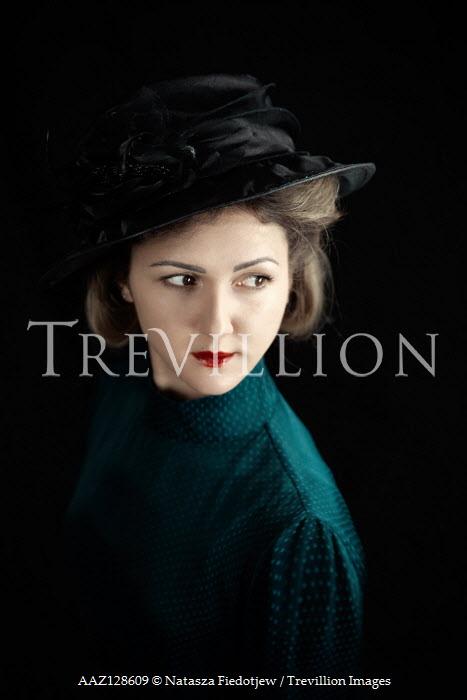 Natasza Fiedotjew close up of vintage woman in black hat Women