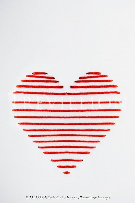 Isabelle Lafrance PAPER HEART SEWN WITH RED WOOL Miscellaneous Objects