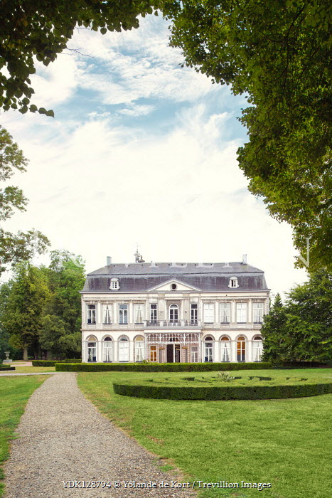 Yolande de Kort LARGE WHITE MANSION WITH GARDEN IN SUMMER Houses