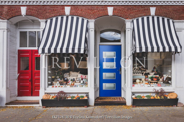 Evelina Kremsdorf GROCERY SHOP WINDOWS WITH STRIPY AWNINGS Miscellaneous Buildings