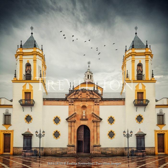 Evelina Kremsdorf EXTERIOR OF SPANISH CHURCH WITH STORMY SKY Religious Buildings