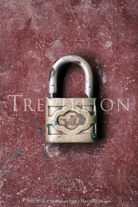 Mohamad Itani OLD PADLOCK ON SCRATCHED SURFACE Miscellaneous Objects