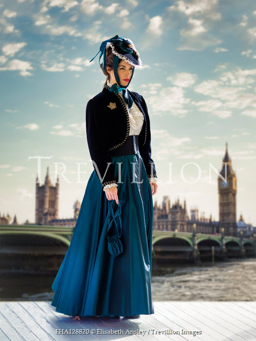 Elisabeth Ansley HISTORICAL WOMAN STANDING BY RIVER AND BIG BEN Women