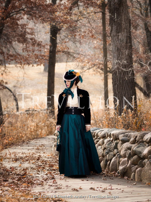 Elisabeth Ansley HISTORICAL WOMAN WALKING IN AUTUMN COUNTRYSIDE Women