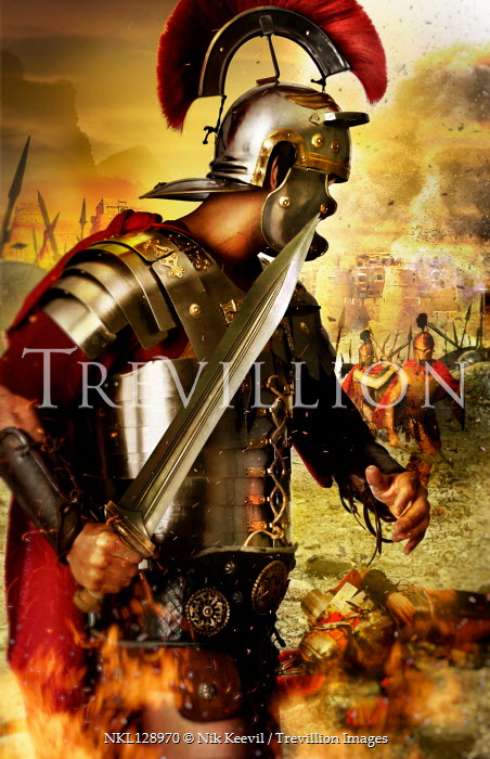 Nik Keevil ROMAN SOLDIER ON BATTLEFIELD BY CITY Men