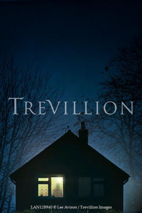 Lee Avison MALE SHADOW IN WINDOW OF HOUSE AT NIGHT Men