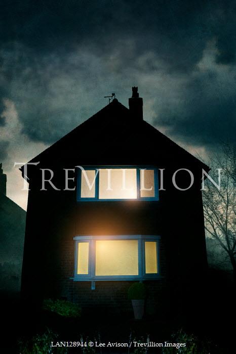 Lee Avison LIGHTS IN WINDOWS OF HOUSE AT NIGHT Houses