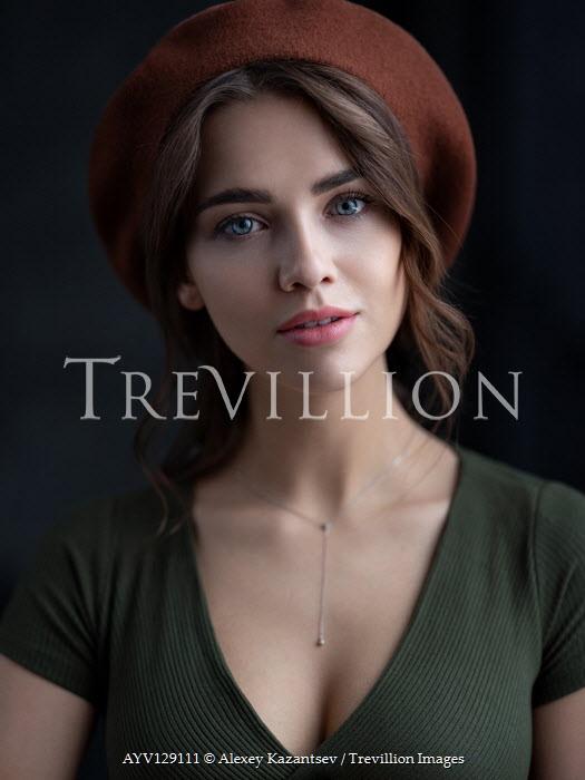 Alexey Kazantsev Portrait of young woman in beret
