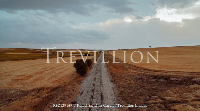 Rafael Sanchez Garcia Railroad track through field