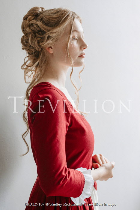 Shelley Richmond Victorian woman in red dress in profile