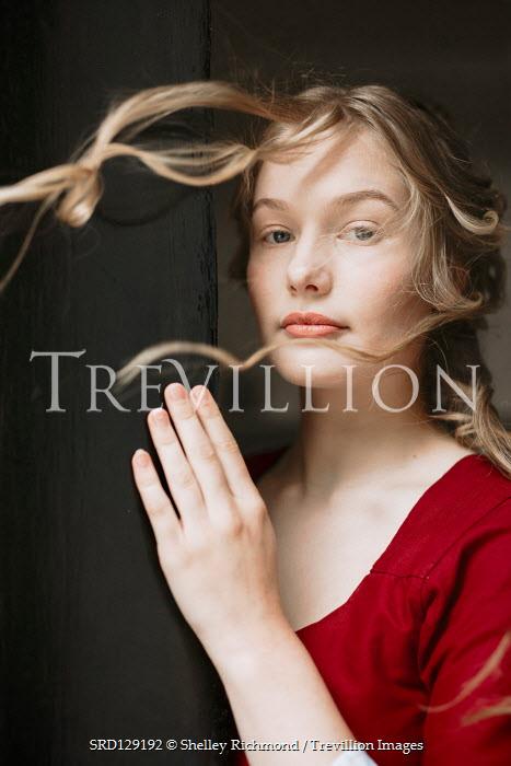Shelley Richmond Victorian woman in wind behind door