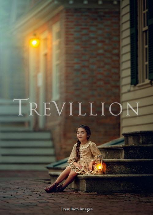 Lilia Alvarado Girl with lantern sitting on steps